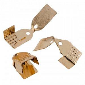 Концевики для тонких шнуров, железо, цвет русское золото, 11х5х4, отверстие 1.5мм,, ОПТ Концевики для тонких шнуров, железо, цвет русское золото, 11х5х4, отверстие 1.5мм