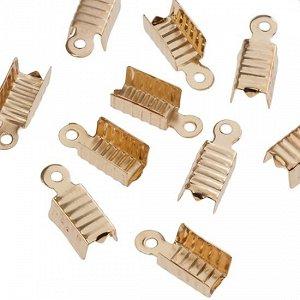 Концевики для тонких шнуров, железо, цвет русское золото, ширина 4.5мм, отверстие 1.5мм