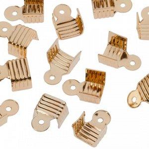Концевики железные для шнуров, цвет русское золото, ширина 6.5мм