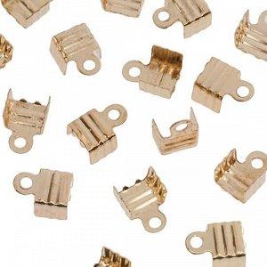 Концевики для тонких шнуров, железо, цвет русское золото, ширина 6мм, отверстие 1.5мм