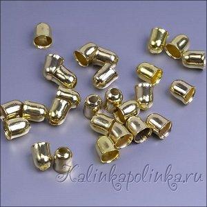 Концевики для шнура, железо, цвет желтое золото, р-р 4х5мм