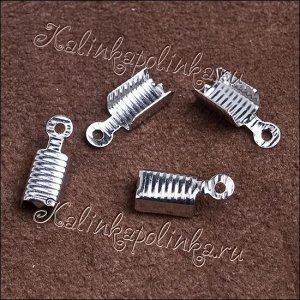 Концевики для шнура, латунь, цвет платина, ширина 4.5мм, диам. отверстия 1.3мм