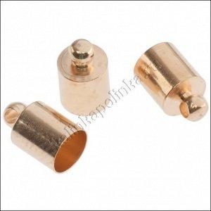 Концевики для шнуров 5.5мм, латунь, цвет русское золото, 6мм, диам. отверстия 1.5мм