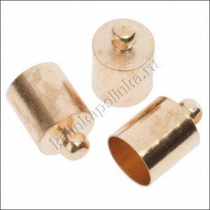 Концевики для шнуров диаметром 7мм, латунь, цвет русское золото, диам. отверстия 6,3мм