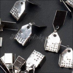 Концевики для шнуров и лент, железо, цвет платина, ширина 6.5мм, отверстие 1мм