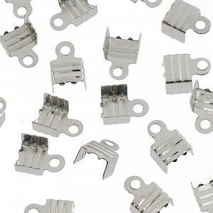 Концевики для тонких шнуров, железо, цвет платина, ширина 6мм, отверстие 1.5мм
