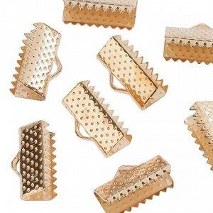 Концевики-зажимы для лент, ширина 20 мм, железо, цвет русское золото