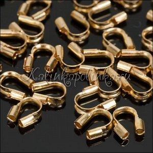 Протектор для защиты ювелирного тросика, латунь, цвет русское золото, 4.2х4.3х1.3мм, отв-е 0.8мм