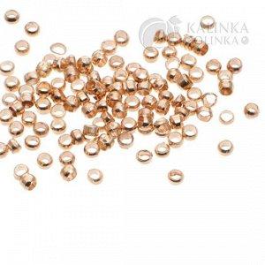 Кримпы (зажимные бусины, стопперы) из латуни, цвет русское золото, р-р. 2х1,2мм, отв, 1,2мм.