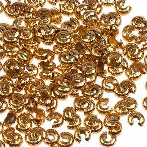 Шапочки для кримпов, латунь, цвет желтое золото, р-р 3.5х3х2мм, отв-е 1.5мм