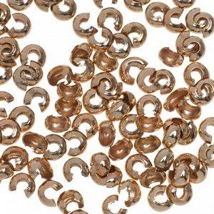 Уценка (разные оттенки золота) Шапочки для кримпов, латунь, цвет розовое золото, 3.5х3х2мм