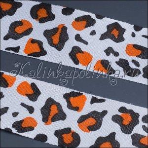 Лента атласная, цвет белый(леопард), ширина 25 мм