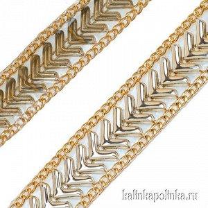 Тесьма золотая акриловая на силиконовой основе, ширина 22мм