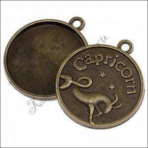 ОПТ Рамка для кабошона Козерог, сеттинг 25мм, сплав, цвет бронза, р-р 32х28х6мм, отв-е 2мм
