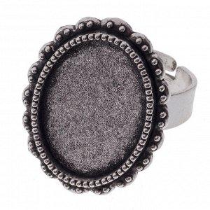 Основа для кольца винтажная, основа - железо, сеттинг - сплав, цвет античное серебро, регулируемый р-р, внутр. р-р площадки ..., Основа для кольца винтажная, цвет античное серебро, с регулируемой желе