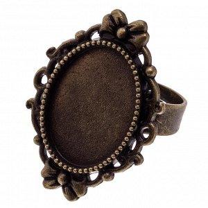 Основа для кольца винтажная, основа - железо, сеттинг - сплав, цвет бронза, регулируемый р-р, внутр. р-р площадки 18х13мм