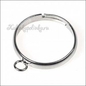 Основа для кольца с 1 петелькой, латунь, цвет платина, внутрений диам. 17мм, ОПТ Основа для кольца с 1 петелькой, латунь, цвет платина, внутрений диам. 17мм