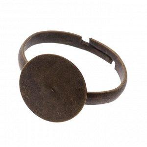 Основа для кольца с площадкой 12мм, цвет бронза, р-р 19х19мм, р-р регулируется, ОПТ Основа для кольца с площадкой 12мм, цвет бронза, р-р 19х19мм, р-р регулируется