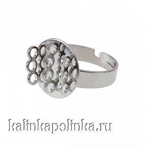 Основа для кольца с площадкой на 10 петелек, диаметр 15мм, железо, цвет платина, р-р 18х0.9мм, р-р регулируется, ОПТ Основа для кольца с площадкой на 10 петелек, диаметр 15мм, железо, цвет платина, р-