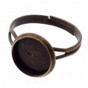 Основа для кольца с площадкой под заливку, цвет античная бронза, внутр. диам. сеттинга 10мм