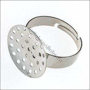 Основа для кольца с площадкой-ситечком 20мм, железо, цвет платина, р-р 19x21x20мм, р-р регулируется, Основа для кольца с площадкой-ситечком 20мм, железо, цвет платина, р-р 19x21x20мм, регулируется