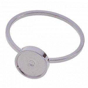 Основа для кольца с сеттингом 7мм, цвет платина, толщина кольца 1х1,2мм, размер 17мм, не регулируется