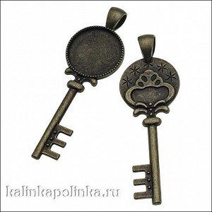 Рамка с сеттингом Ключ, цвет бронза, р-р рамки 20х60х3мм, р-р сеттинга 18мм, Опт Рамка с сеттингом Ключ, цвет бронза, р-р рамки 20х60х3мм, р-р сеттинга 18мм