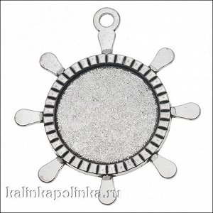 Рамка с сеттингом Штурвал, цвет античное серебро, размер рамки 54х60х3мм, размер сеттинга 30мм