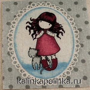 Купон на льне, девочка Gorjuss, девочка в красном платье с кошкой, размер ткани около 12х11см