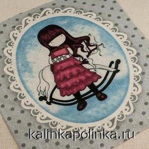 Купон на льне, девочка Gorjuss, девочка в красном платье с лошадкой, размер ткани около 22х26см