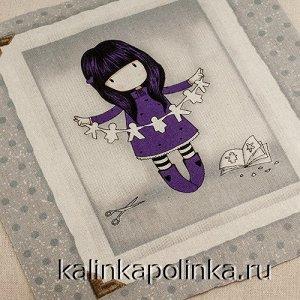 Купон на льне, девочка Gorjuss, девочка в фиолетовом платье с гирляндой, размер ткани около 22х26см