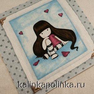 Купон на льне, девочка Gorjuss, девочка на голубом фоне, размер ткани около 12х11см