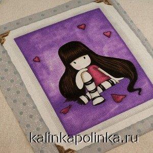 Купон на льне, девочка Gorjuss, девочка на сиреневом фоне, размер ткани около 22х26см