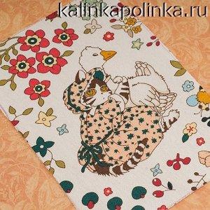 Купон на льне, кошечка Принцесса Лебедь, лён с хлопком, размер ткани 10х15см