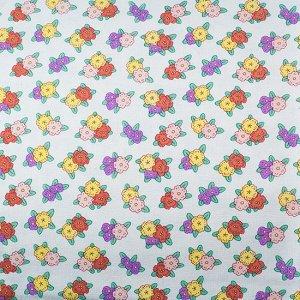 Ткань Корея, плотная, лен с печатью цветочки