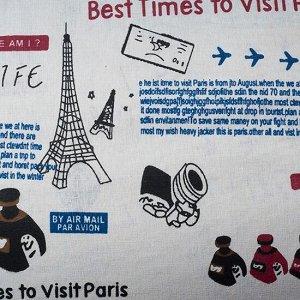 Ткань плотная, лен белый с печатью путешествие в Париж, Ткань плотная, лен белый с печатью путешествие в Париж. отрез 48х50м