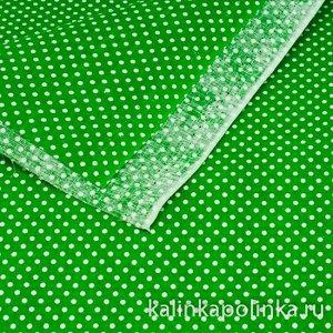 Ткань хлопковая в горошек, точки белые на травянистом фоне, в 5 см 7 точек