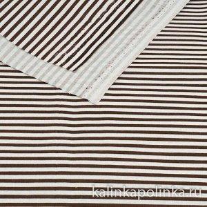 Ткань хлопковая в полоску, цвет полосок белый-коричневый, ширина полоски 3мм