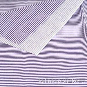 Ткань хлопковая в полоску, цвет полосок белый-фиолетовый