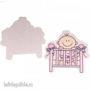 Девочка в кроватке, дерево, 40х41мм