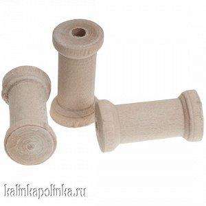 Катушка маленькая деревянная для ниток и кружев, размер 20х10мм