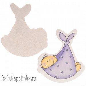 Малыш в пеленке сиреневой, 44х42мм