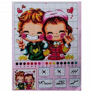 Набор для вышивания детский 2 предмета: нитки, ткань