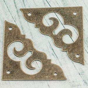 Накладки металлические для шкатулок, филигрань, цвет бронза, размер 37х37мм, толщина металла 0.5мм