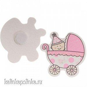 Наклейка из дерева Малыш в розовой коляске, 36х35мм