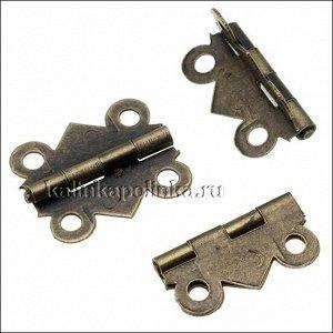 Петельки металлические для шкатулок, цвет бронза, размер 20х17мм, толщина металла 0.4мм, отверстия 2мм