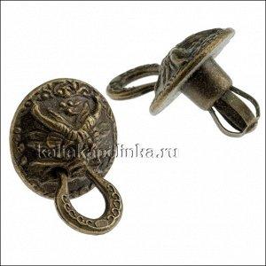 Ручка металлическая для шкатулок, цвет бронза, размер 20х19.2мм, толщина ножки 6.2мм