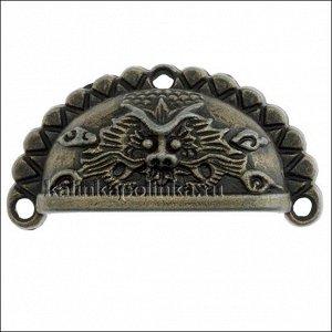 Ручка металлическая для шкатулок, цвет бронза, размер 46х24х12мм, толщина металла 2.3мм, отверстия 2.5мм
