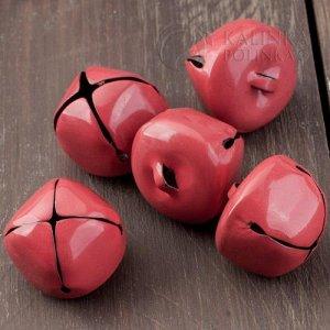 Колокольчики металлические звонкие красные, диаметр 25мм