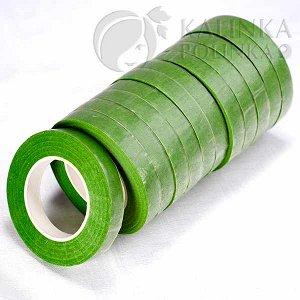 Флористическая лента (тейп лента), ширина 12мм, цвет сочной зелени.